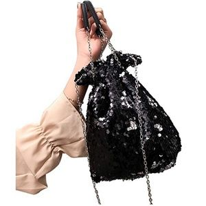 Mermaid Sequin Chain Crossbody Bucket Bag